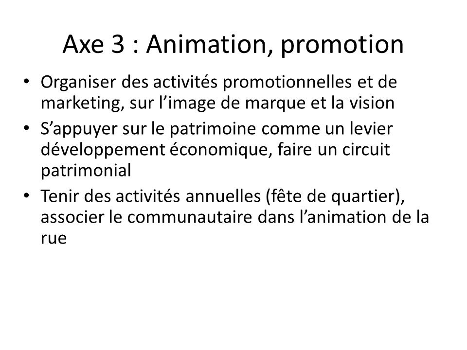 Axe 3 : Animation, promotion