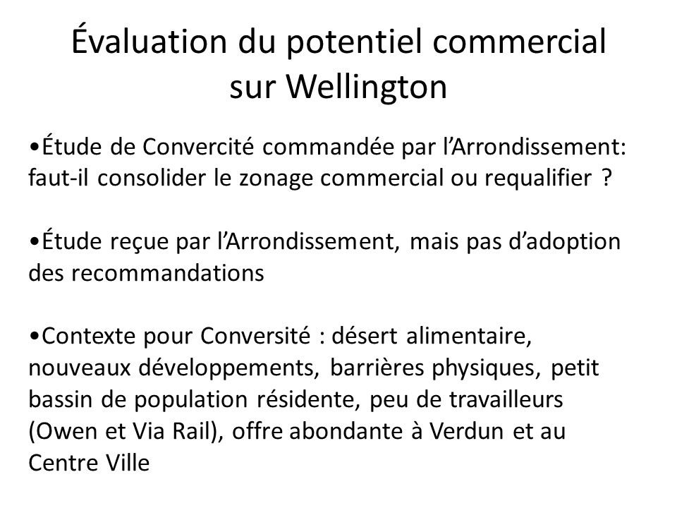 Évaluation du potentiel commercial sur Wellington