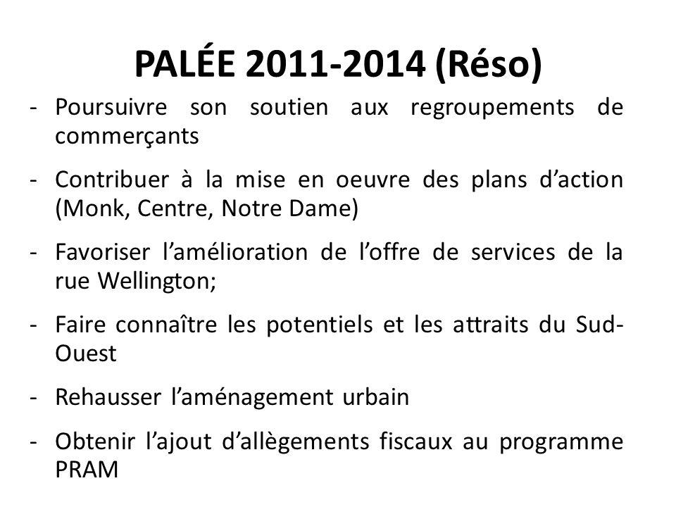 PALÉE 2011-2014 (Réso) Poursuivre son soutien aux regroupements de commerçants.