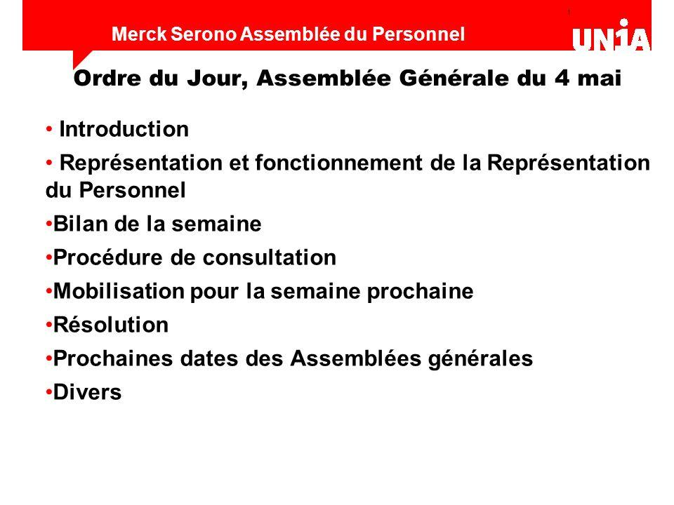 Ordre du Jour, Assemblée Générale du 4 mai