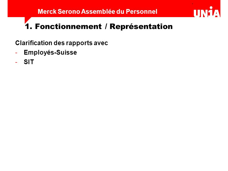1. Fonctionnement / Représentation