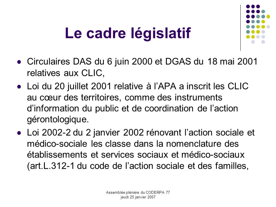 Assemblée plénière du CODERPA 77 jeudi 25 janvier 2007