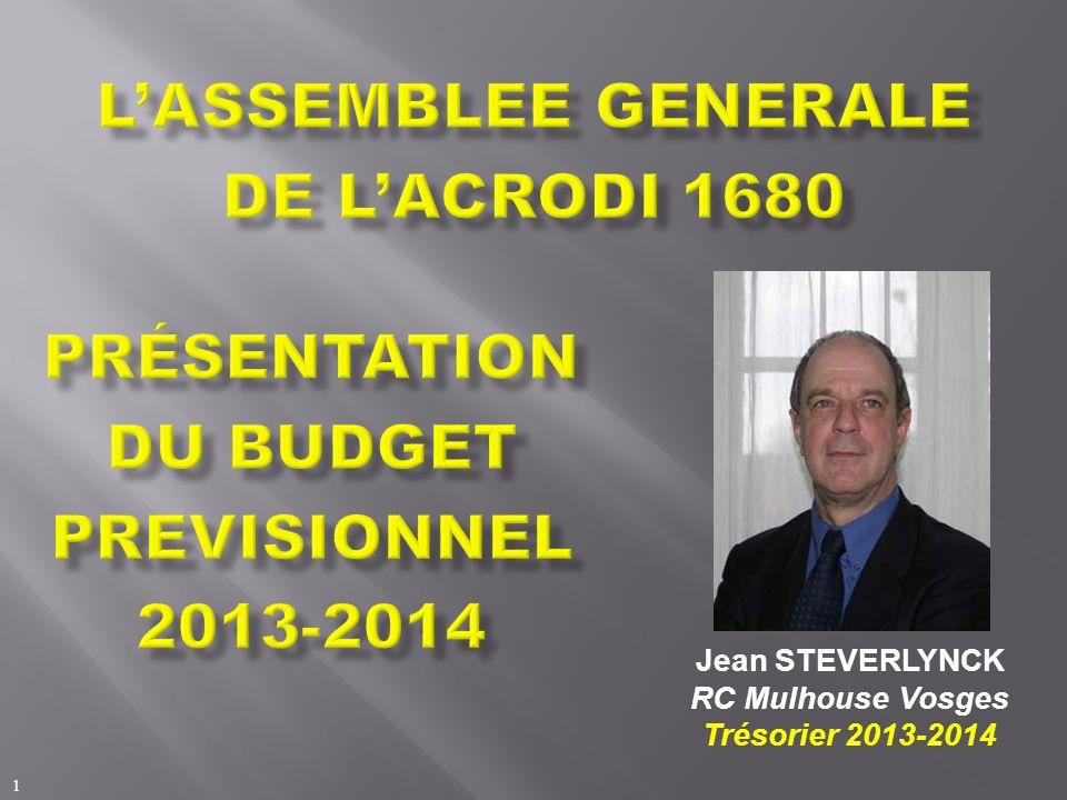 Présentation DU BUDGET PREVISIONNEL 2013-2014