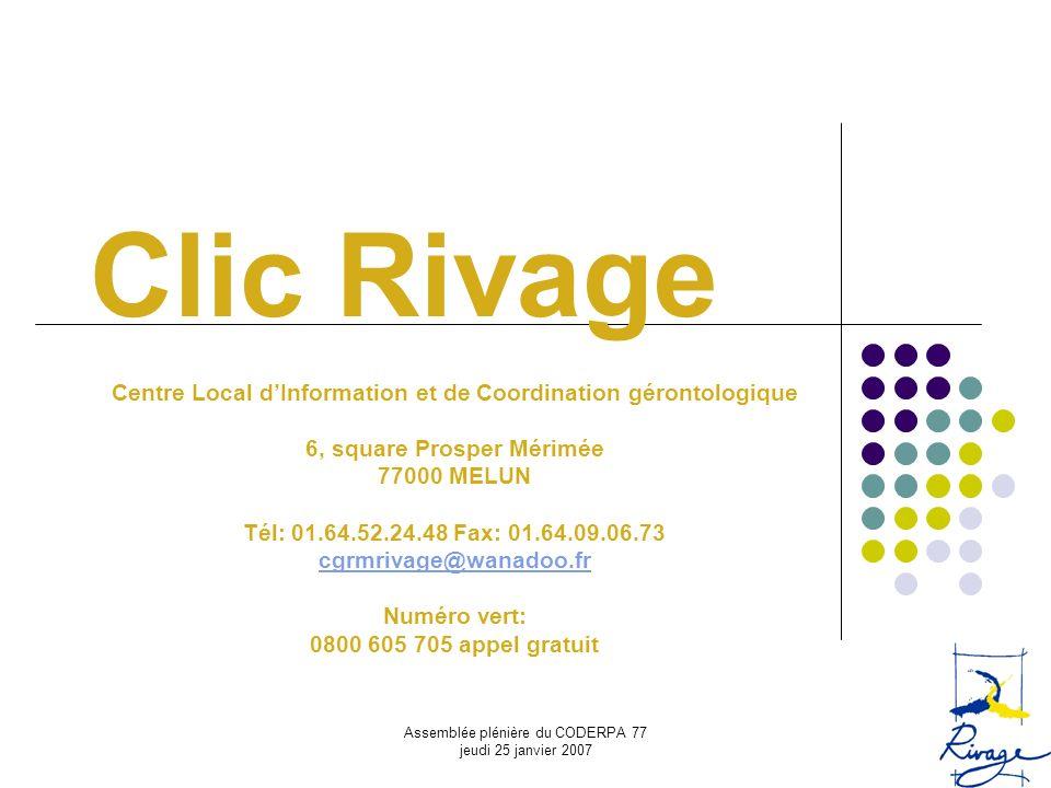 Clic Rivage Centre Local d'Information et de Coordination gérontologique. 6, square Prosper Mérimée.