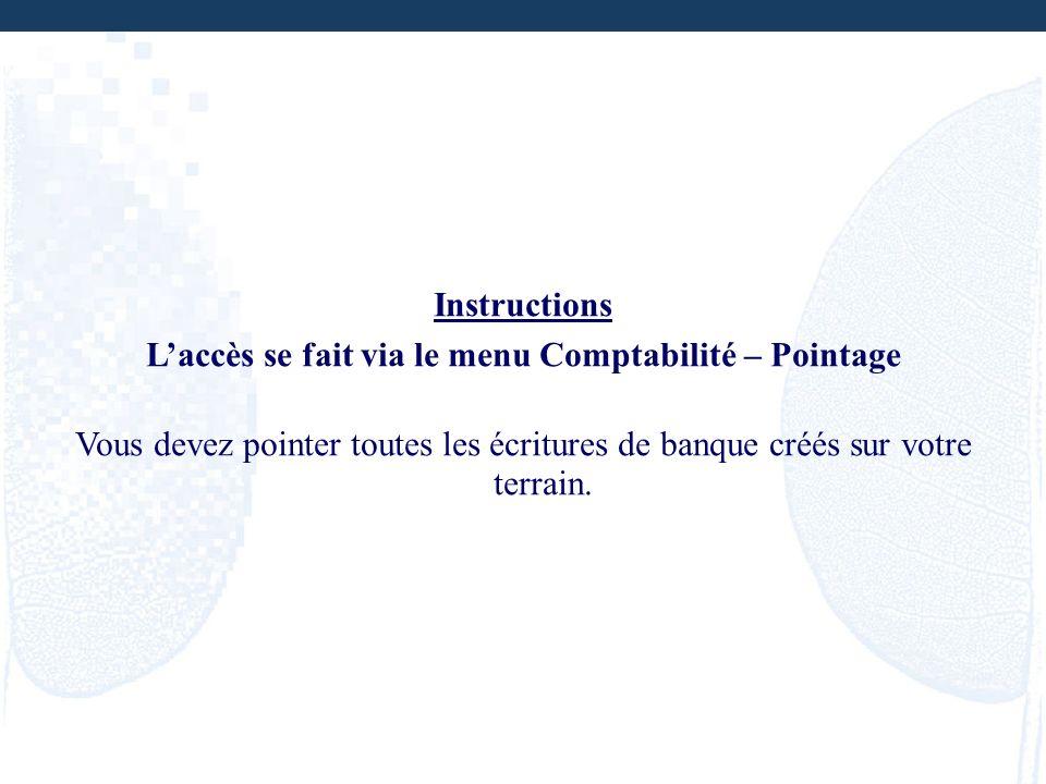 L'accès se fait via le menu Comptabilité – Pointage