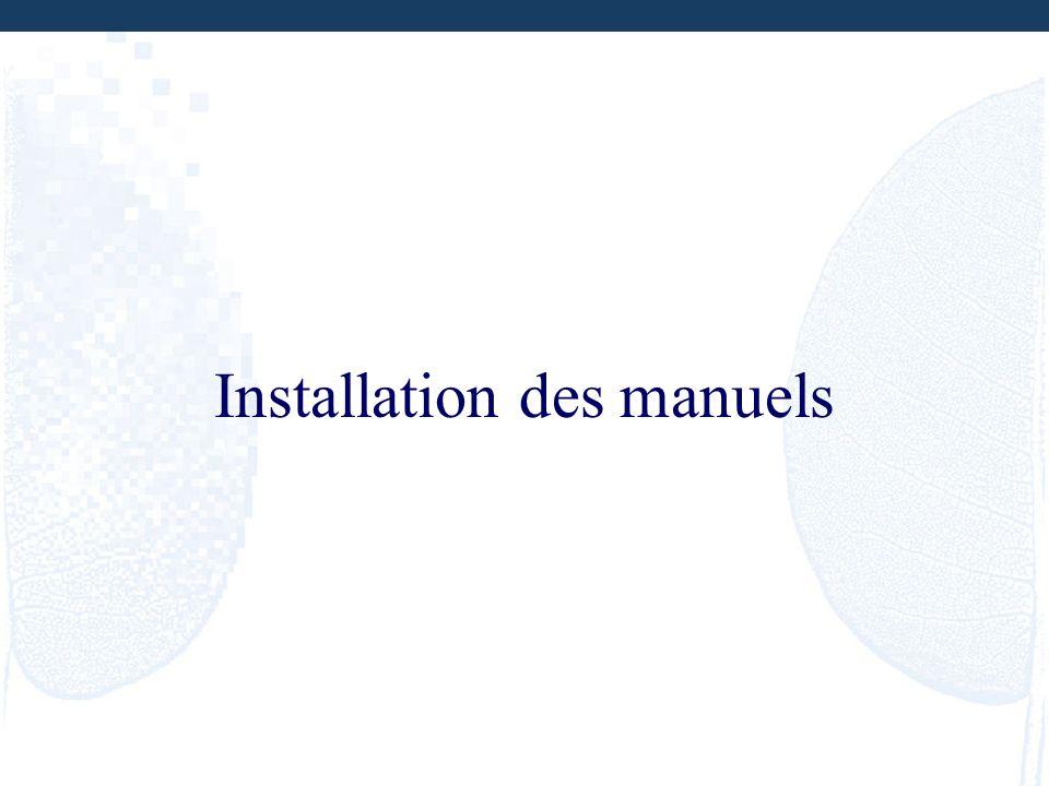 Installation des manuels