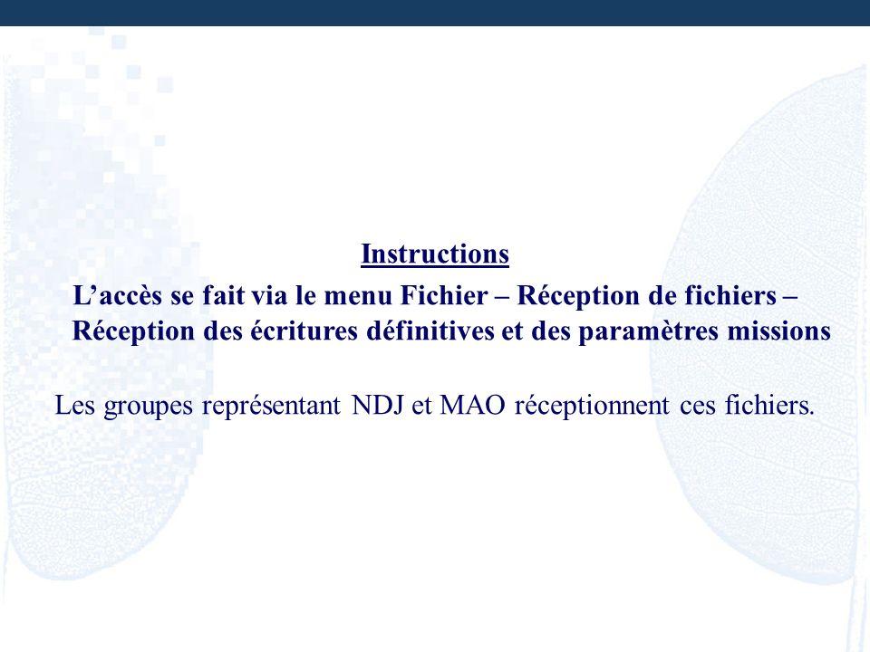 Les groupes représentant NDJ et MAO réceptionnent ces fichiers.