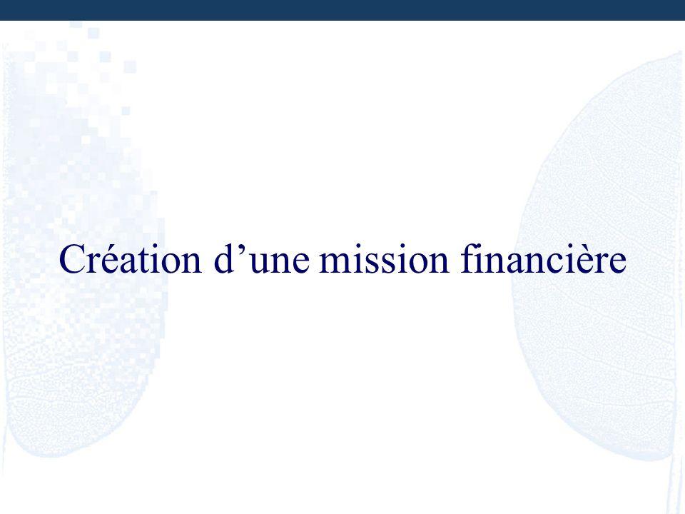 Création d'une mission financière