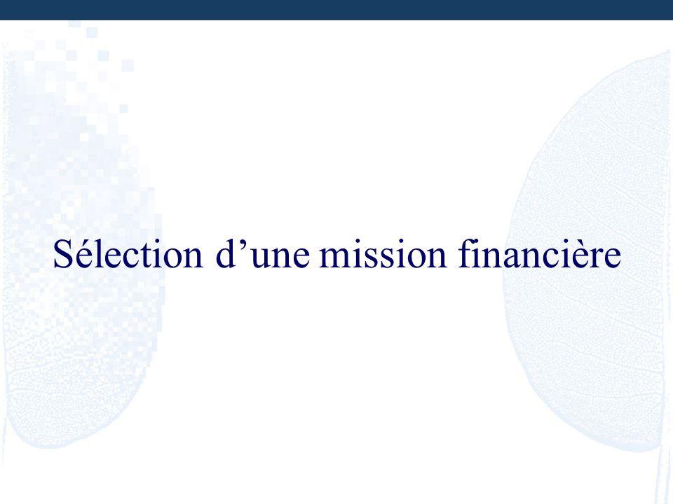 Sélection d'une mission financière
