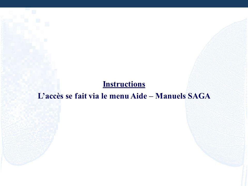 L'accès se fait via le menu Aide – Manuels SAGA