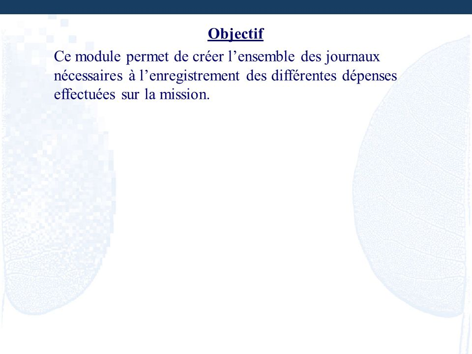 Objectif Ce module permet de créer l'ensemble des journaux nécessaires à l'enregistrement des différentes dépenses effectuées sur la mission.