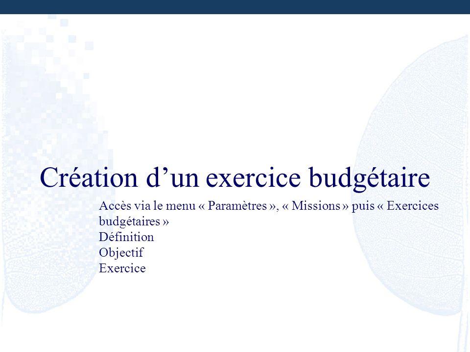 Création d'un exercice budgétaire