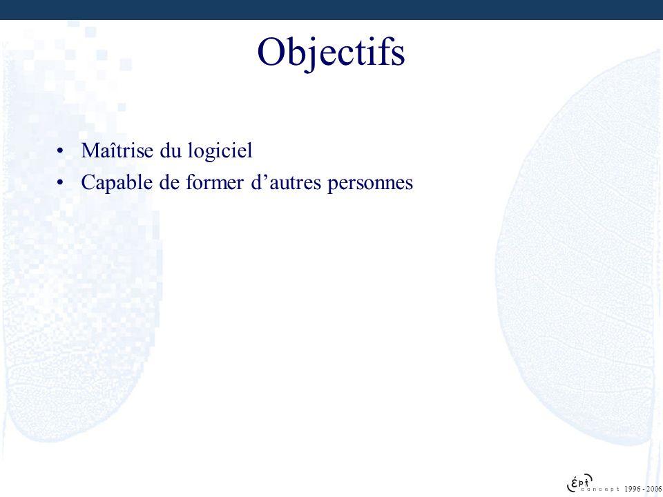 Objectifs Maîtrise du logiciel Capable de former d'autres personnes