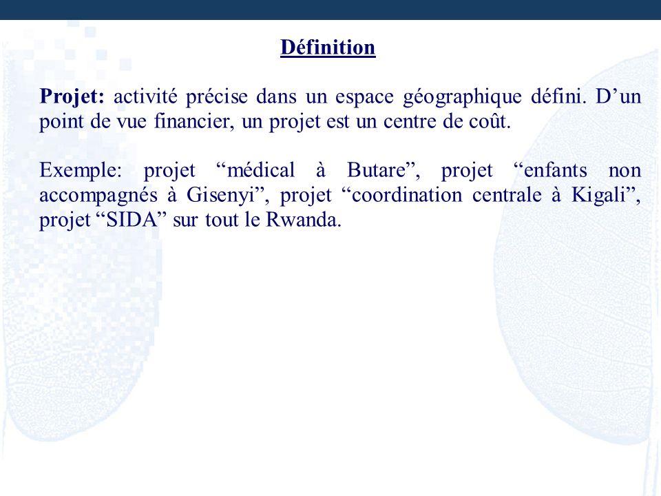 Définition Projet: activité précise dans un espace géographique défini. D'un point de vue financier, un projet est un centre de coût.