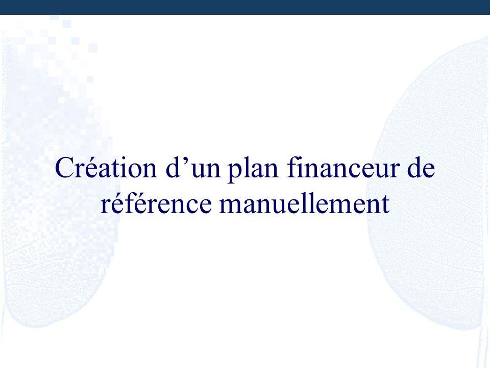Création d'un plan financeur de référence manuellement