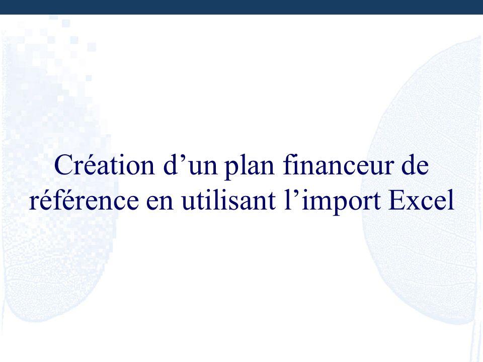 Création d'un plan financeur de référence en utilisant l'import Excel