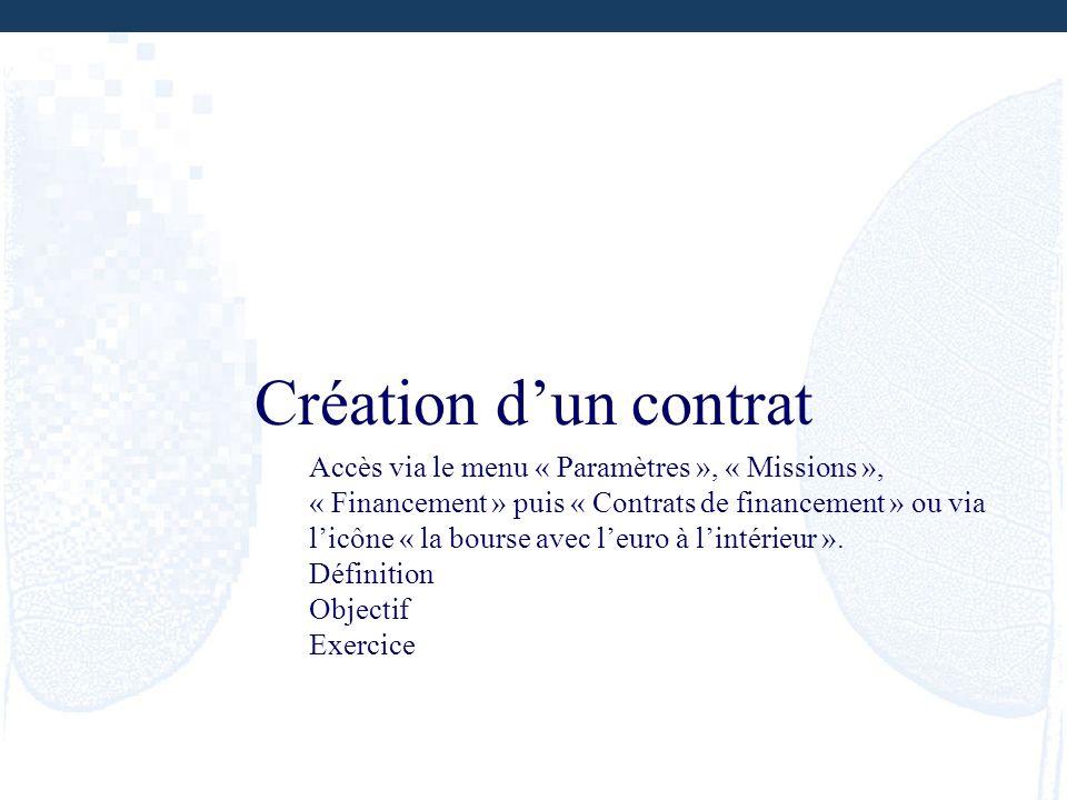 Création d'un contrat