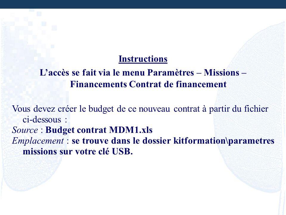 Instructions L'accès se fait via le menu Paramètres – Missions – Financements Contrat de financement.