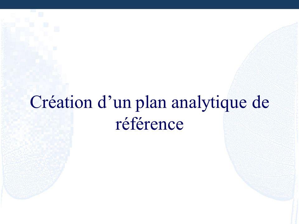 Création d'un plan analytique de référence
