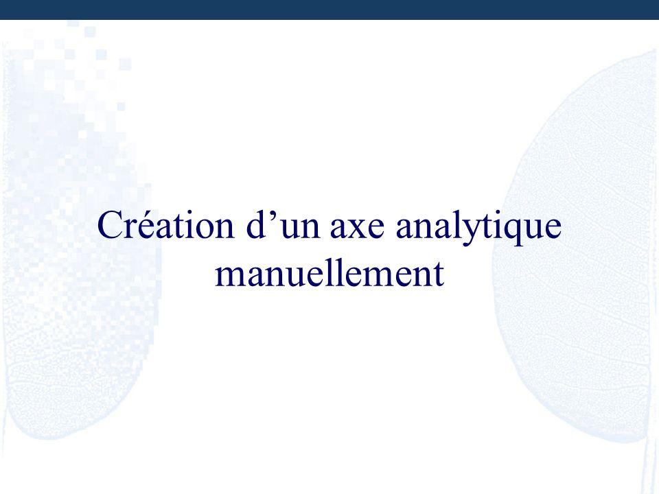 Création d'un axe analytique