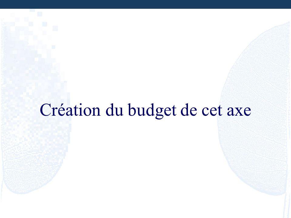 Création du budget de cet axe