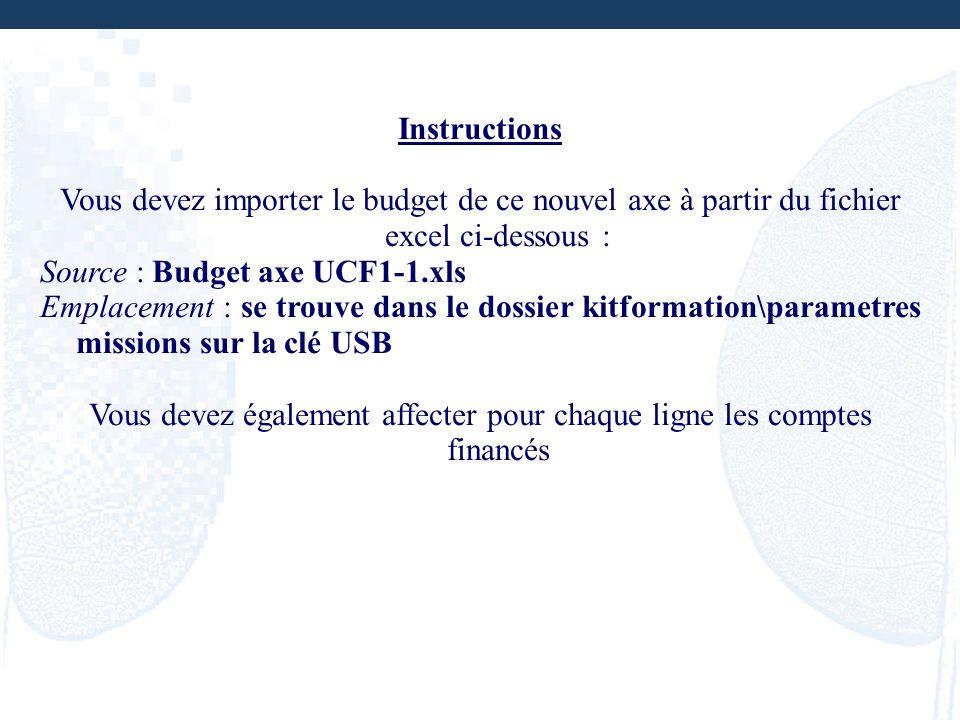 Vous devez également affecter pour chaque ligne les comptes financés