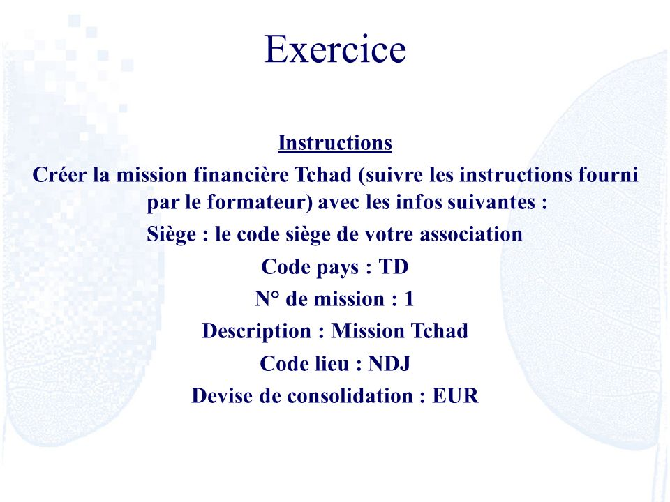 Exercice Instructions