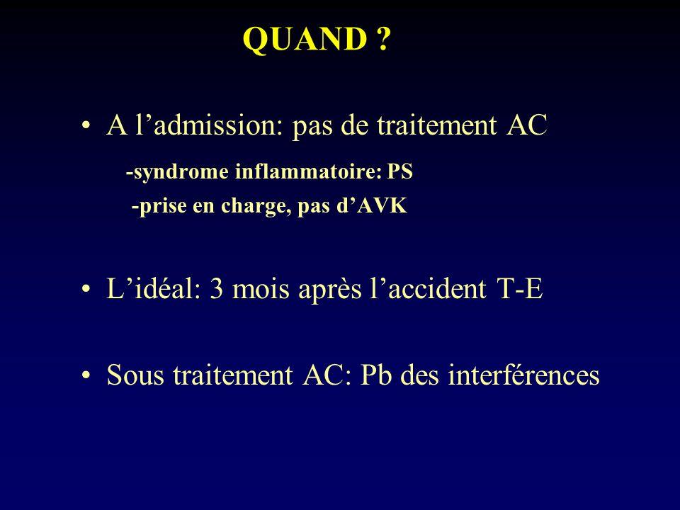 QUAND A l'admission: pas de traitement AC
