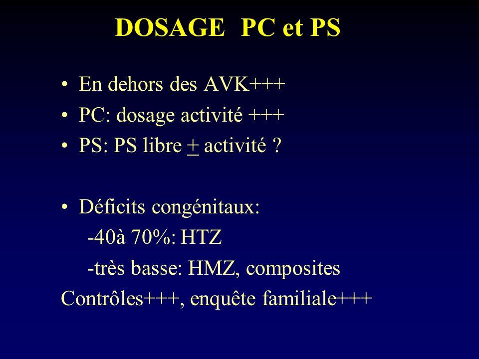 DOSAGE PC et PS En dehors des AVK+++ PC: dosage activité +++