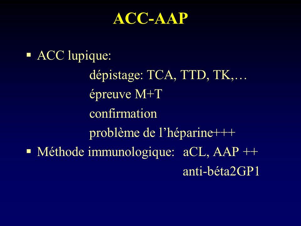 ACC-AAP ACC lupique: dépistage: TCA, TTD, TK,… épreuve M+T