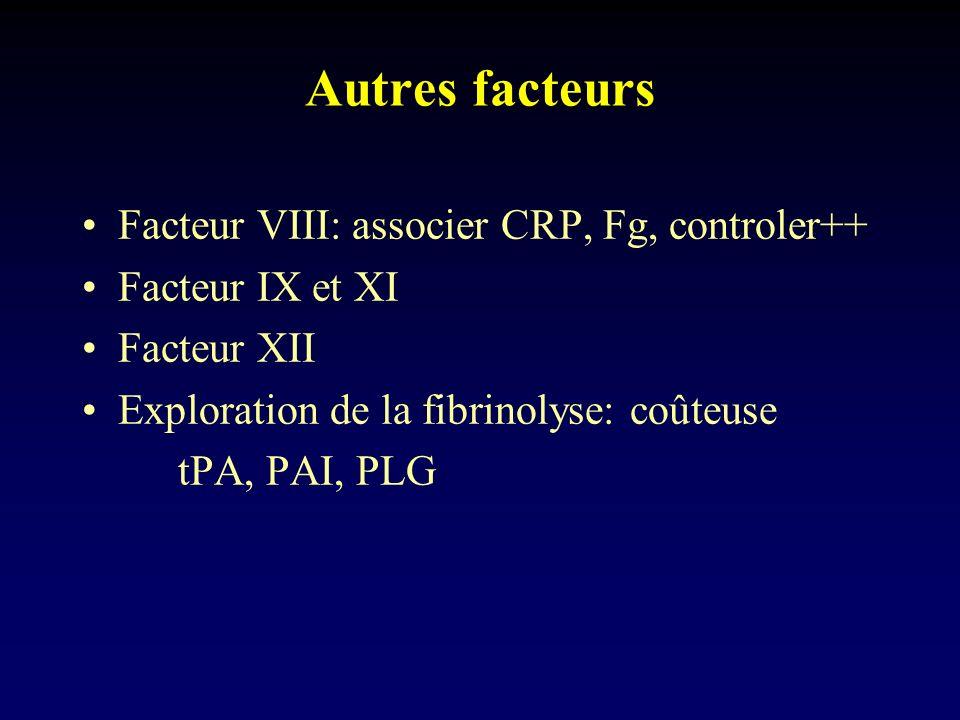 Autres facteurs Facteur VIII: associer CRP, Fg, controler++