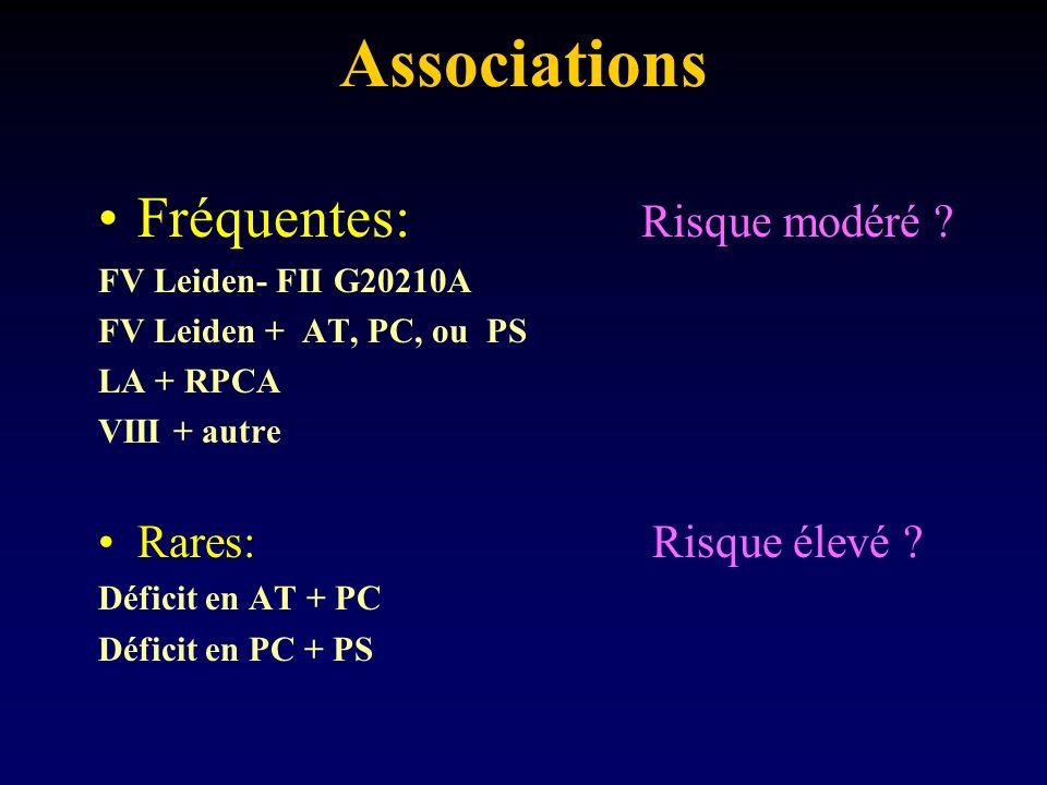 Associations Fréquentes: Risque modéré Rares: Risque élevé