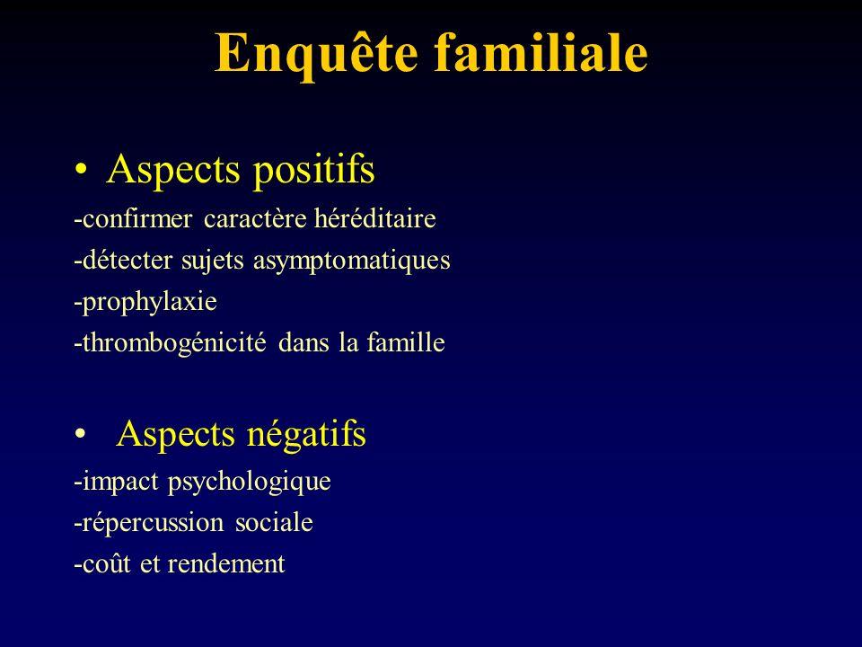 Enquête familiale Aspects positifs Aspects négatifs