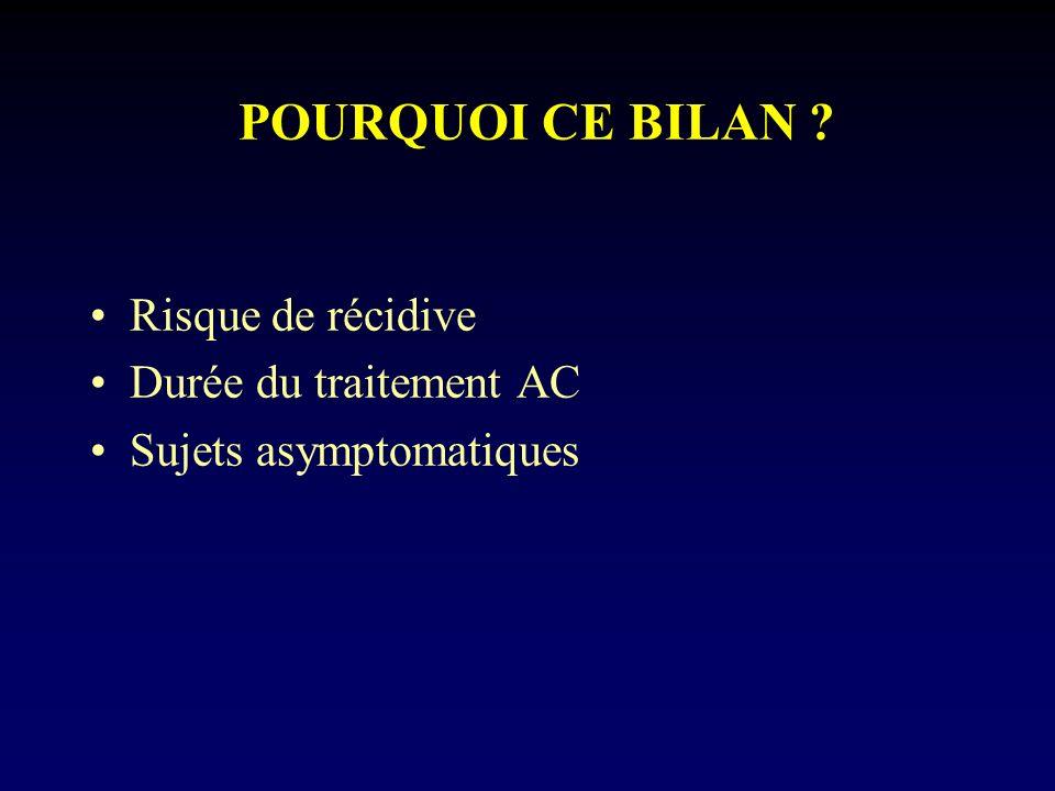 POURQUOI CE BILAN Risque de récidive Durée du traitement AC