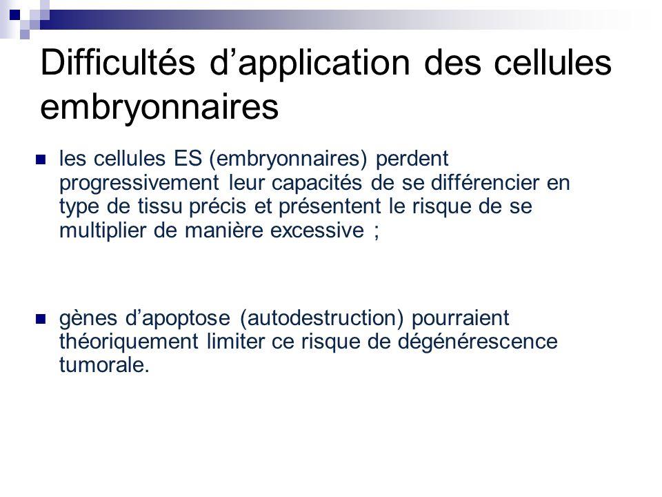 Difficultés d'application des cellules embryonnaires