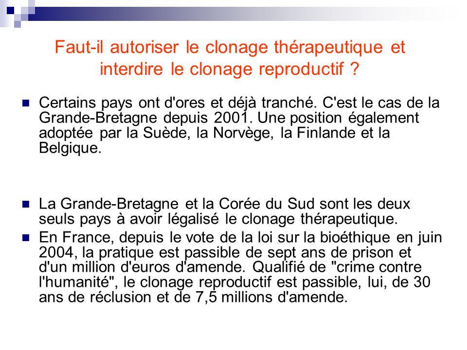 Faut-il autoriser le clonage thérapeutique et interdire le clonage reproductif