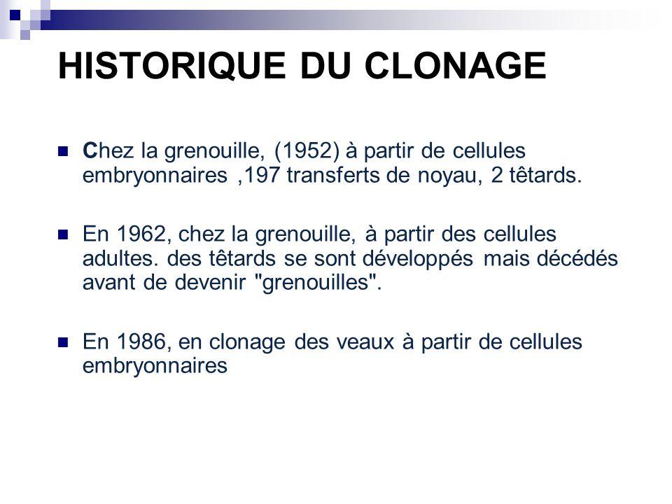 HISTORIQUE DU CLONAGE Chez la grenouille, (1952) à partir de cellules embryonnaires ,197 transferts de noyau, 2 têtards.