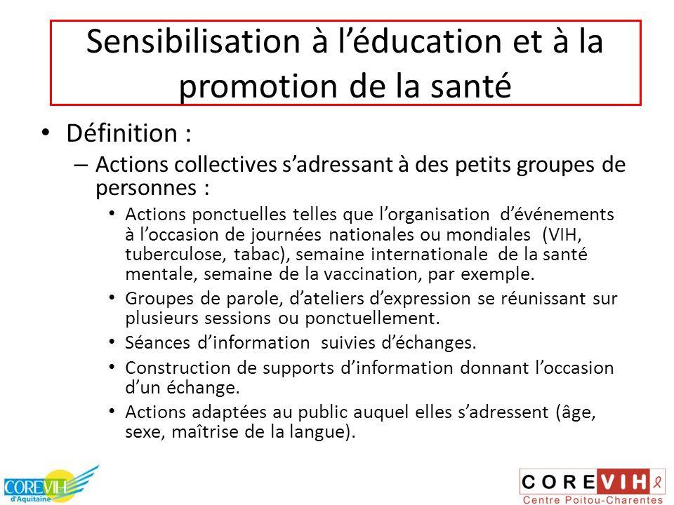 Sensibilisation à l'éducation et à la promotion de la santé