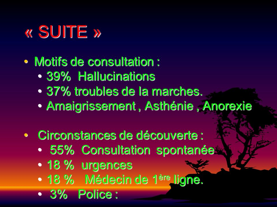 « SUITE » Motifs de consultation : 39% Hallucinations