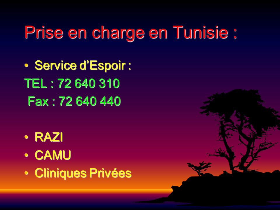 Prise en charge en Tunisie :