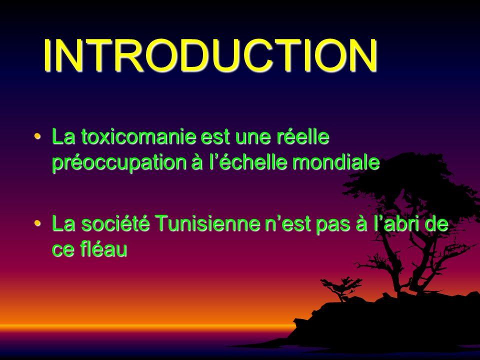 INTRODUCTION La toxicomanie est une réelle préoccupation à l'échelle mondiale.