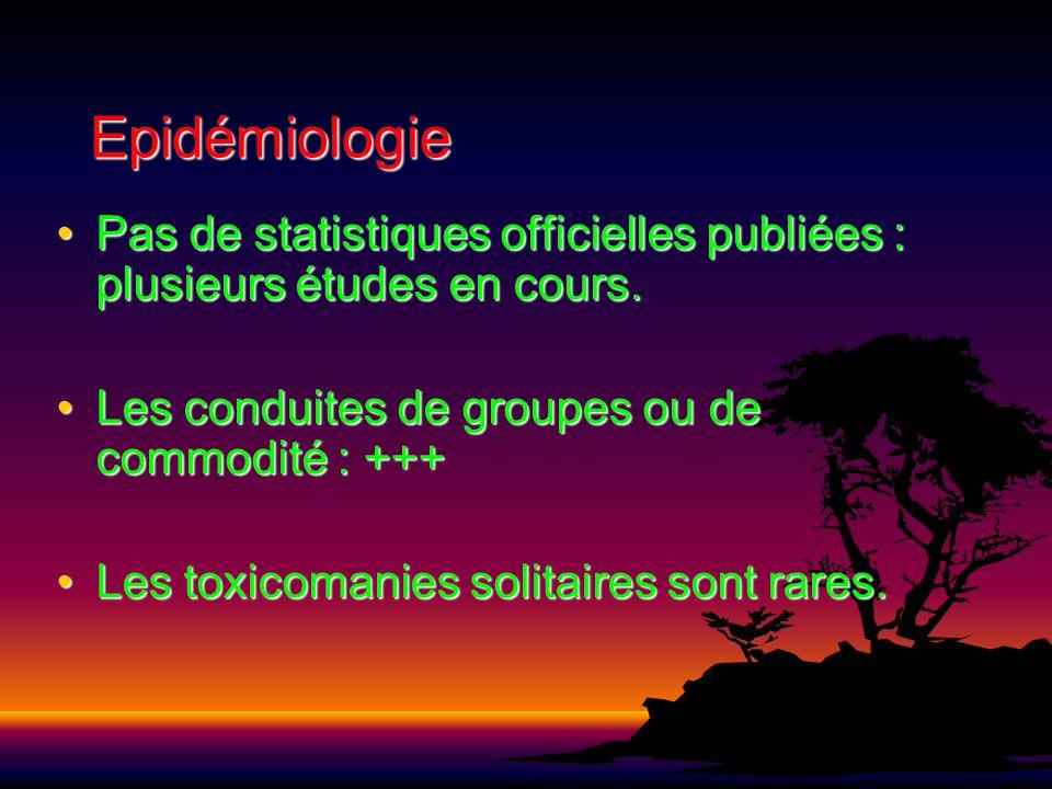 Epidémiologie Pas de statistiques officielles publiées : plusieurs études en cours. Les conduites de groupes ou de commodité : +++