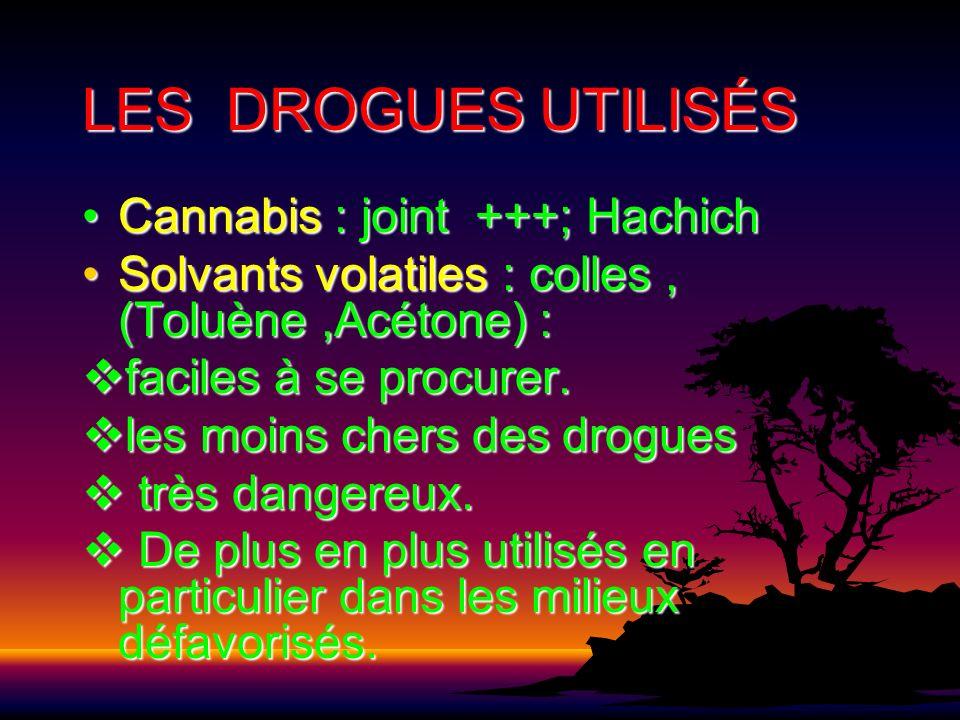 LES DROGUES UTILISÉS Cannabis : joint +++; Hachich