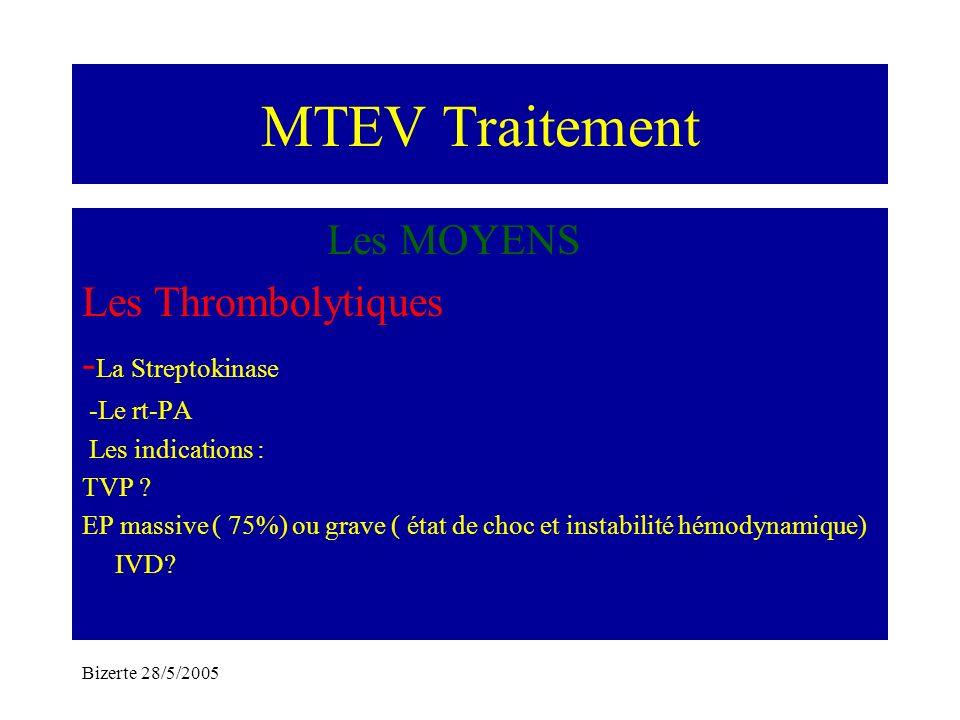 MTEV Traitement Les MOYENS Les Thrombolytiques -La Streptokinase