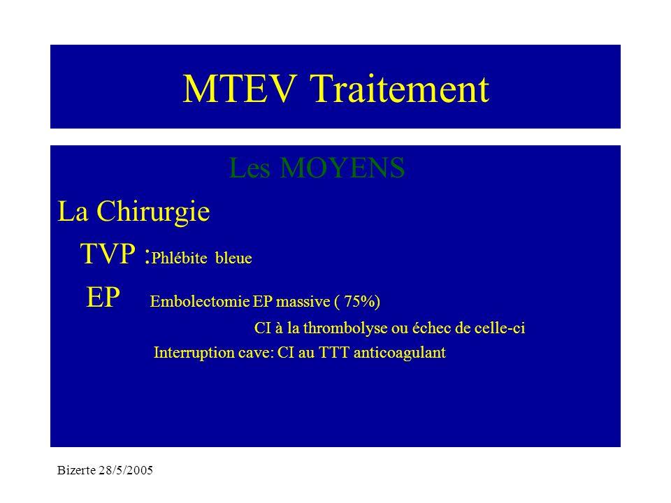 MTEV Traitement Les MOYENS La Chirurgie TVP :Phlébite bleue