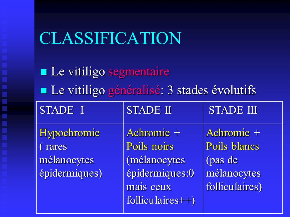 CLASSIFICATION Le vitiligo segmentaire
