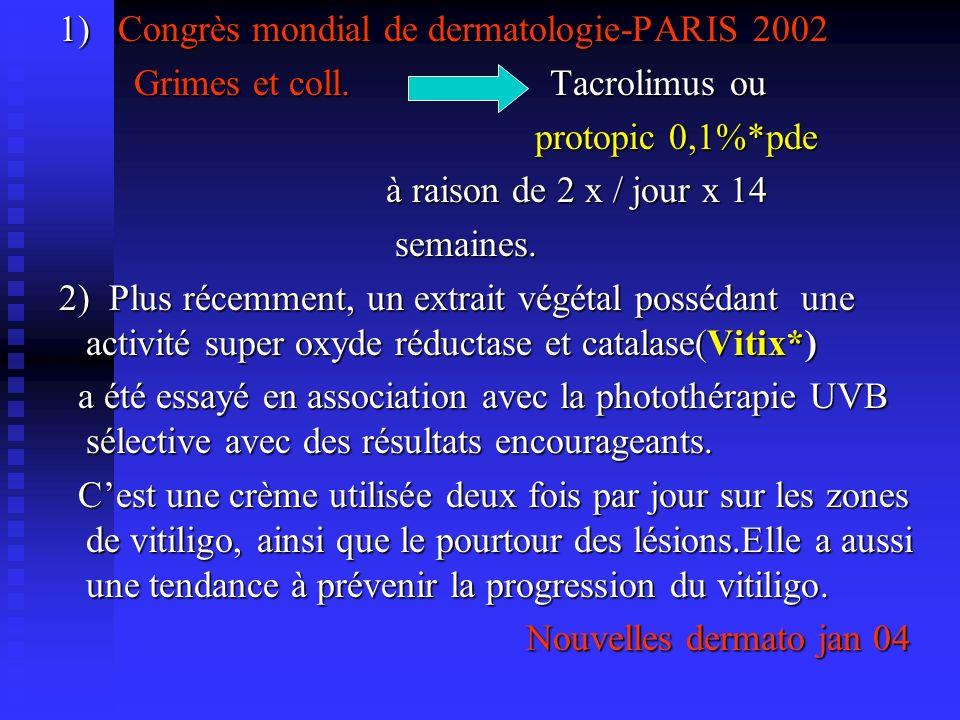 1) Congrès mondial de dermatologie-PARIS 2002