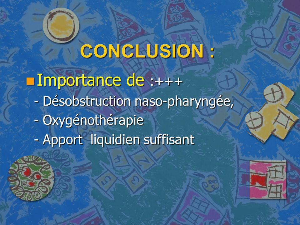 CONCLUSION : Importance de :+++ - Désobstruction naso-pharyngée,