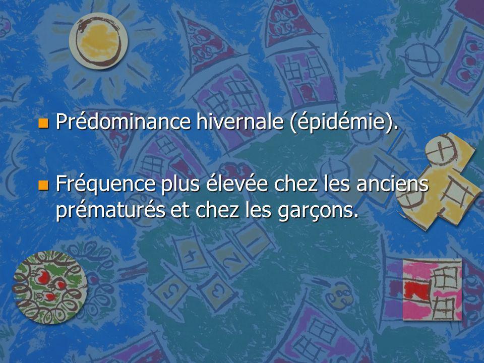Prédominance hivernale (épidémie).