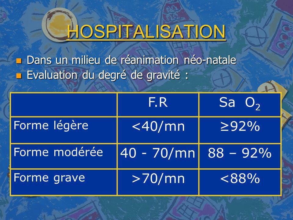 HOSPITALISATION F.R Sa O2 <40/mn ≥92% 40 - 70/mn 88 – 92% >70/mn